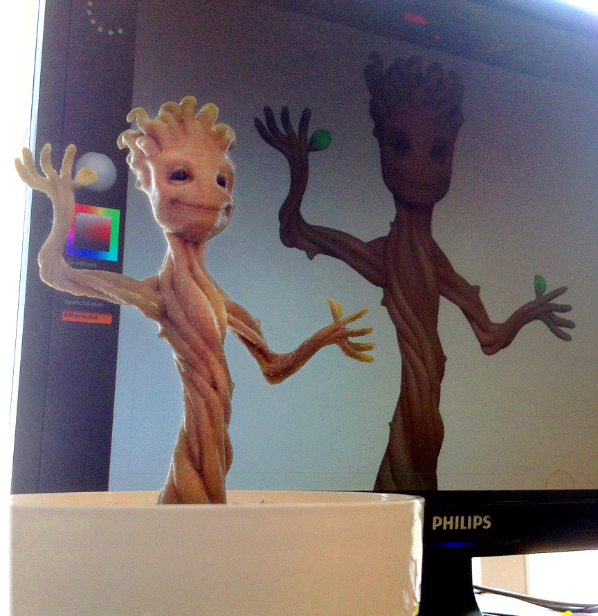 A 3D Printed Baby Groot Stands Tall with his Beautifully Rendered Counterpart