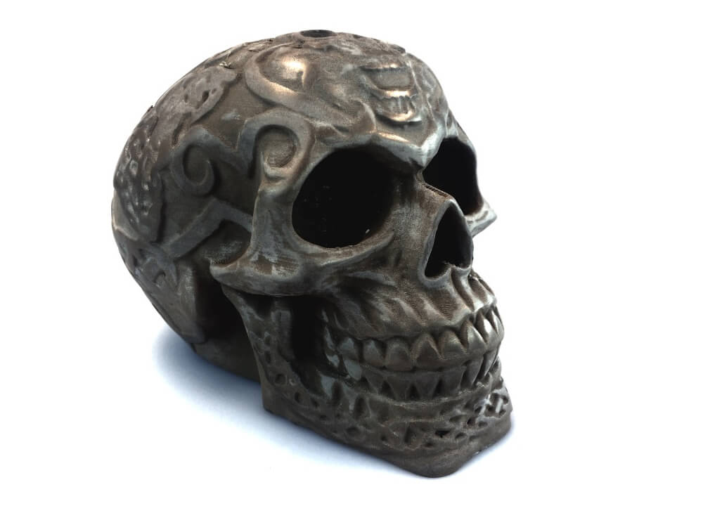 colorFabb bronzeFill 3D printed skull polished