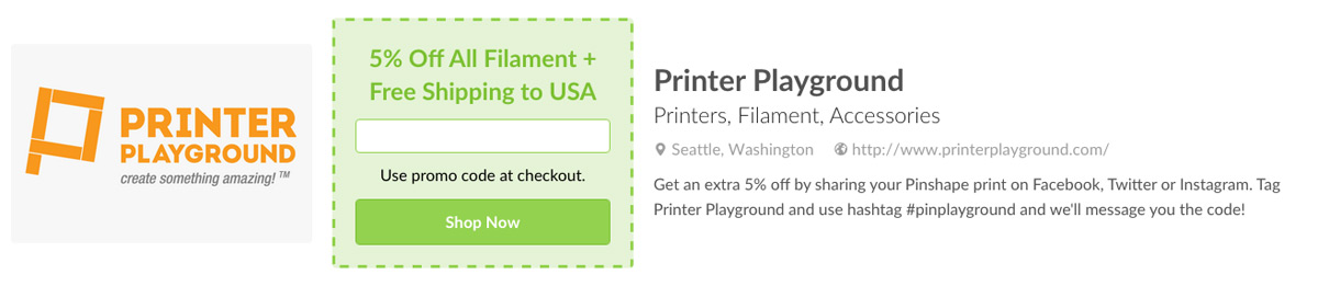 Printer Playground's Deal on Pinshape